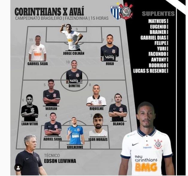 Escalação do Corinthians Sub-23 para o jogo com Avaí pelo Brasileirão de Aspirantes - Foto: Divulgação/Instagram BaseCorinthiana