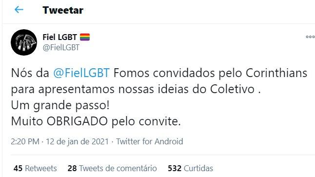 Reprodução Twitter Fiel LGBT