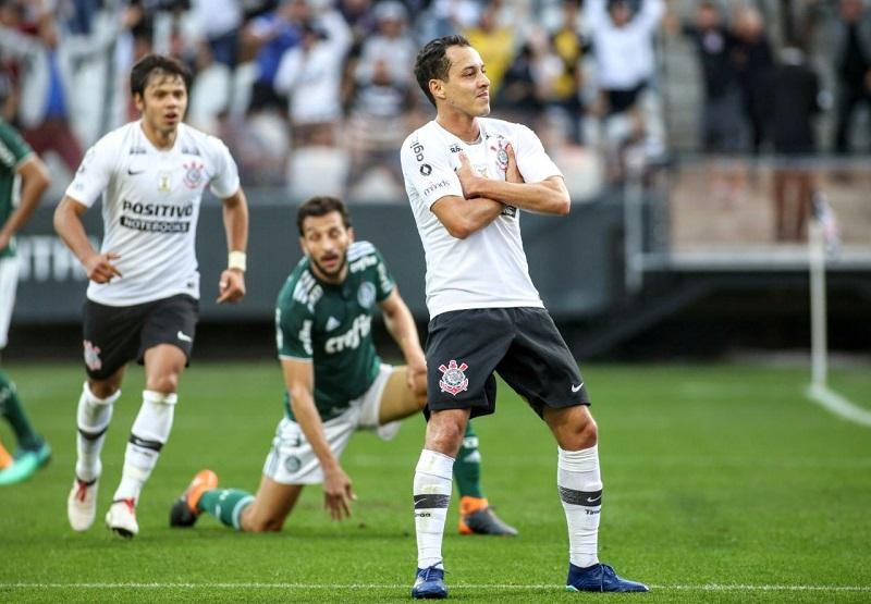 Rodriguinho comemora gol contra o rival Palmeiras. Foto: © Rodrigo Coca/Ag. Corinthians