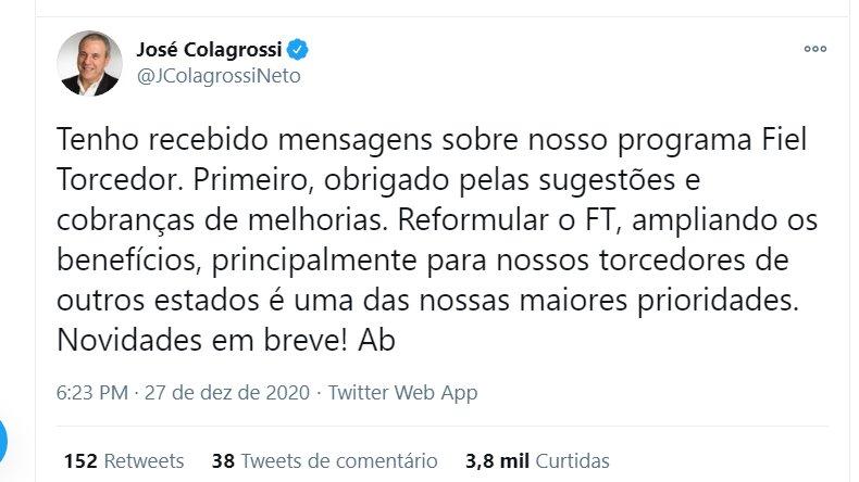 Reprodução Twitter  José Colagrossi Neto