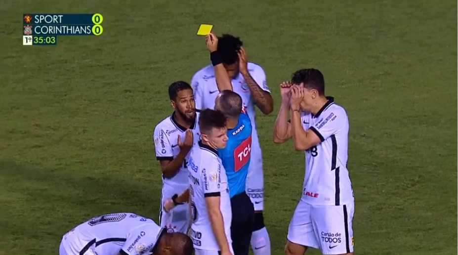 cartão amarelo everaldo sport Reprodução/vídeo/Rede Globo