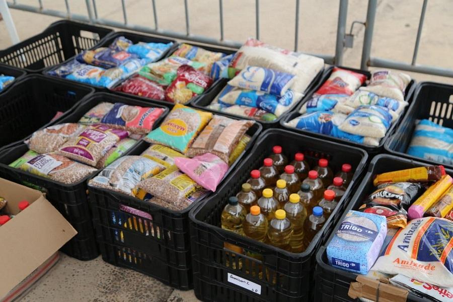 Alimentos doados durante a campanha Sangue Corinthiano. Foto: José Manoel Idalgo