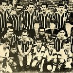 Time do Corinthians em 1956. Na foto: Gilmar, Olavo, Alan, Idário, Goiano, Walmir, Luizinho, Zezé, Cláudio, Paulo e Zague. Foto: reprodução Corinthians
